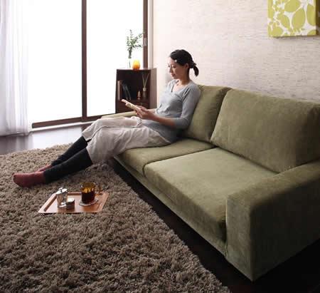カバーリング仕様!ファブリックフロアソファ 選べる5サイズ 快適な座り心地