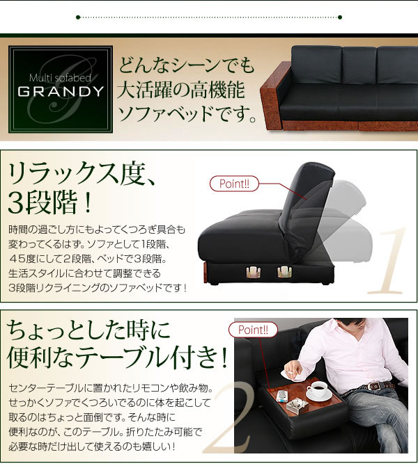 マルチソファーベッド【GRANDY】グランディ スツールタイプ 説明画像2