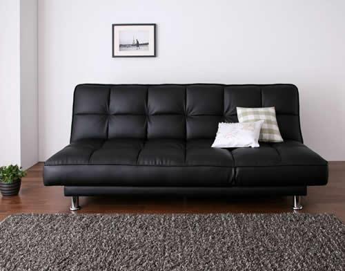 3スタイルレザーソファーベッド ブラック