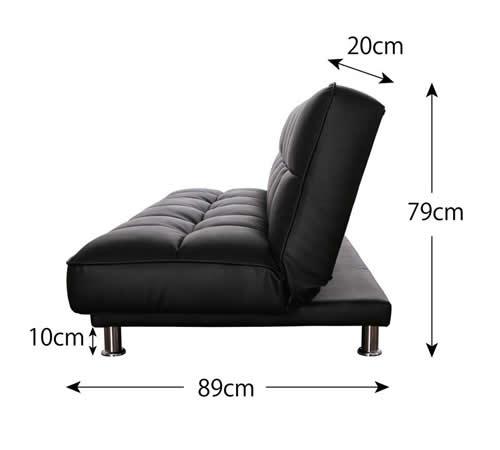 3スタイルレザーソファーベッド ソファー時側面サイズ