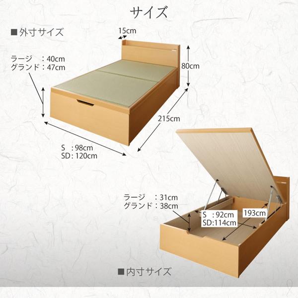 棚付き畳ベッド・国産・低ホルムアルデヒド・跳ね上げ収納【鈴菜】すずなを通販で激安販売